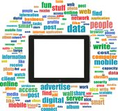 Tablet Pc In Social Media Words, Computer Networks Stock Image