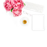 Tablet PC, Keyboard, Coffee. Home office workplace business lady. Tablet PC, Keyboard, Cup of Coffee. Home office workplace business lady. Flat lay for social Royalty Free Stock Images