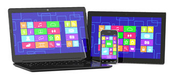 Tablet PC, laptopand smartphone Stock Photos