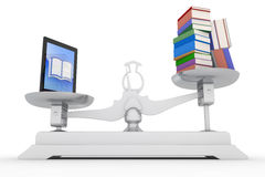 Tablet PC into a lot of books Royalty Free Stock Images