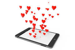 Tablet PC with many hearts Royalty Free Stock Images