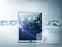 Tablet pc with map and footage. Technology and internet concept - illustration of tablet pc with map and footage Stock Photo