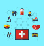 Tablet pc with medical icons for web design, modern flat style Stock Images