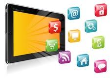 Tablet PC mit einem unbelegten Platz für Ikone Stockfotos