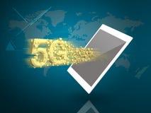 Tablet-PC mit 5G und Supergeschwindigkeitsdownloading auf Digital-Welt B Stockfotos