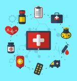 Tablet-PC mit medizinischen Ikonen für Webdesign, moderne flache Art Stockfotografie