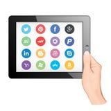 Tablet-PC mit Social Media icaons Stockfoto
