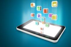 Tablet-PC mit Wolke von bunten Anwendungsikonen Stockfotos