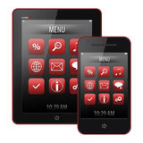 Tablet pc and mobile phone Stock Image