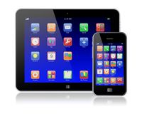 Tablet PC with mobile phone Royalty Free Stock Image