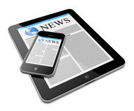 Tablet PC with mobile phone Royalty Free Stock Photography