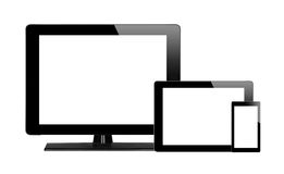 Tablet pc, mobile phone and computer. Isolated on white background