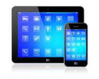 Tablet PC with mobile phone Stock Photo