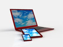 Tablet pc, mobile phone and different digital devices Stock Photo