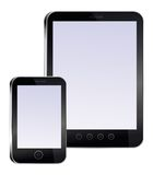 Tablet pc and mobile phone with empty screens Stock Photography