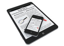 Tablet PC and mobile phone with news Stock Photos