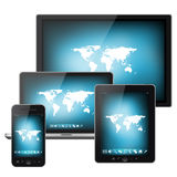 Tablet pc, mobile phone and notebook Stock Photo