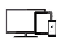 Tablet pc, mobile phone and tv Stock Photography