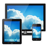 Tablet pc, mobile phone and tv Royalty Free Stock Photo