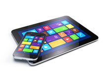 Tablet PC and Mobile Smartphone Stock Photo