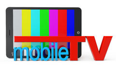 Tablet PC with Mobile TV sign Stock Photo