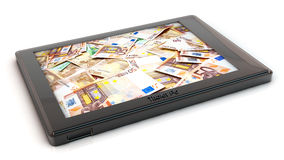 Tablet pc with money in 3d Royalty Free Stock Images