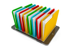 Tablet PC with multicolor folders. On a white background Royalty Free Stock Images
