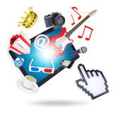 Tablet pc and multimedia objects Stock Photo