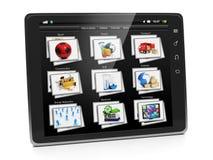 Tablet PC:N med ett galleri av avbildar Fotografering för Bildbyråer