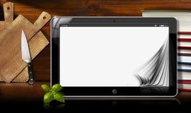 Tablet pc na cozinha Fotos de Stock