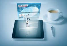 Tablet pc with news feed. Business and technology concept - tablet pc with news feed Royalty Free Stock Photo