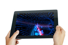 Tablet pc with numbers Royalty Free Stock Image