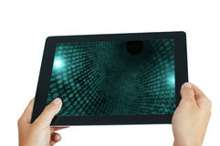 Tablet pc with numbers Stock Photo