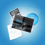 Tablet PC and office items Stock Photography