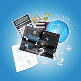 Tablet PC and office items Stock Photo
