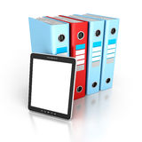 Tablet PC With Office Ring Binders. 3d Render Illustration Royalty Free Stock Images