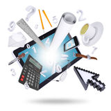 Tablet pc and office supplies Stock Images