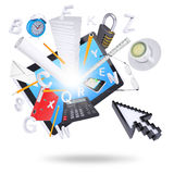 Tablet pc and office supplies Royalty Free Stock Images