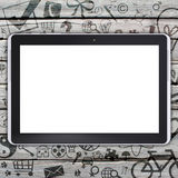 Tablet PC on an old wooden surface Stock Photo