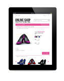 Tablet pc with online shop Royalty Free Stock Photo