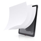 Tablet pc and paper pages. On white background. 3d rendered image Stock Image
