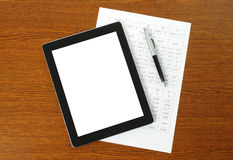 Tablet PC, paper and pen Stock Photos