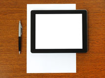 Tablet PC, paper and pen Stock Photo