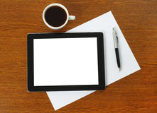 Tablet PC, paper and pen Royalty Free Stock Photos