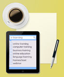 Tablet PC with paper sheet and pen Office desktop  Stock Photography