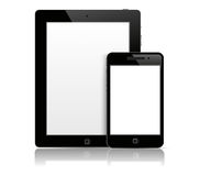 Tablet pc with phone. Tablet pc with mobile phone in black body Royalty Free Stock Photo