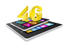 Tablet pc, phone and new technology. Tablet pc, phone and 4G on white background Stock Photography