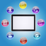 Tablet PC and program icons Royalty Free Stock Images