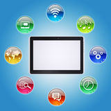Tablet PC and program icons. The concept of computer software Royalty Free Stock Photos