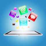 Tablet PC and program icons. The concept of computer software Royalty Free Stock Images